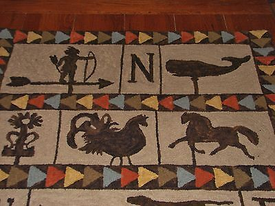 """Primitive Hooked Rug Pattern On Linen """"Weathervanes Of New England"""""""