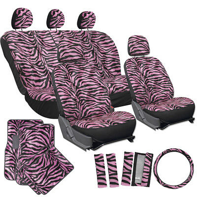 21pc Pink Zebra Print Truck Seat Covers Set with Floor Mats Wheel + Belt Pads