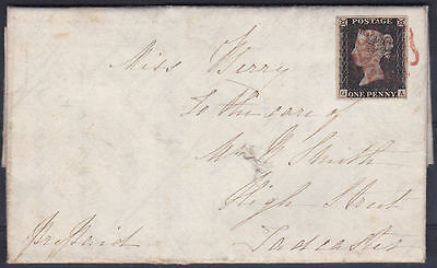 1840 SG2 1d BLACK PLATE 1b RED MALTESE CROSS ON COVER HALIFAX TO TADCASTER (GA)