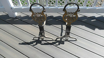 Vintage Cast Iron & BRASS Andirons  Ornate Cast Iron Figural Antique Andirons