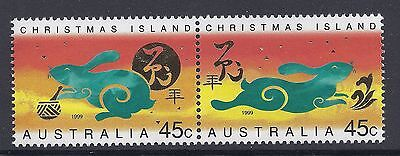 1999 Christmas Island Year Of The Rabbit Set Of 2 Fine Mint Mnh/muh