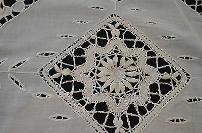 Spectacular Antique Teacloth With Openwork And Bobbin Lace Insertions Pp710