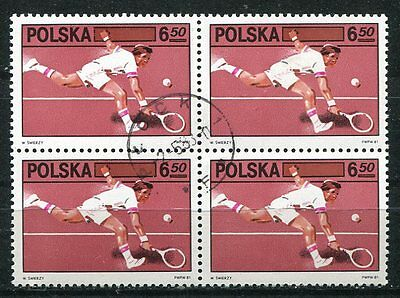 Poland 1981 Polish Tennis Federation Stamp Complete In A Block Of 4!