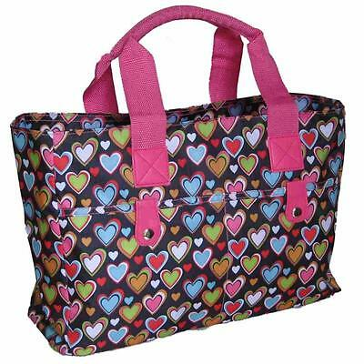 Knitting Bag/ Beach Bag/ Handbag,wool hearts tote crochet hand holdall pink gym