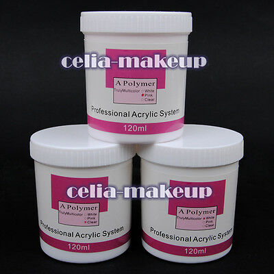 120g Nail art Super Size pink white clear Color Acrylic Powder Builder gel 1063