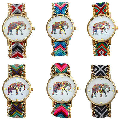 Women Watch Girl Watch Handmade Braided Elephant Bracelet Dial Quarzt Watch