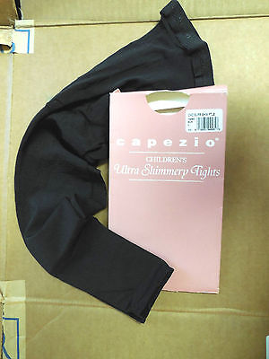 NEW CAPEZIO 1806 Ultra shimmery  Footless Black Tights  Large Child Small Adult