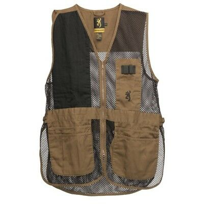 Mens NWT Browning Trapper Creek Mesh Shooting Vest Clay Brown, Black Size M-3XL