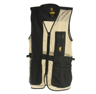 Mens Browning Trapper Creek Mesh Shooting Vest Black & Tan Left or Right Handed