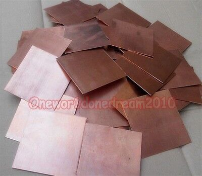 3x Pure Copper Metal Sheets Cathode Plates for Hull Cell 0.25mm x 100mm x 65mm