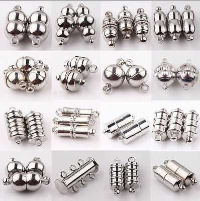 New 10Sets Silver Plated Tube Barrel Strong Magnetic Clasps Jewelry Finding