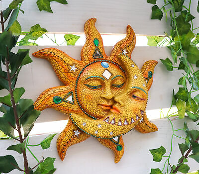 """Mosaic Sun and Moon Wall Decor 12""""Tall Day Surrendering Unto Night Wall Mount"""