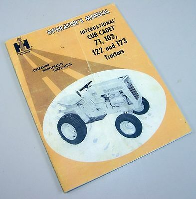 International Cub Cadet 71 102 122 123 Tractor Operators Owners Maintenance Ih