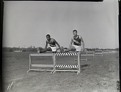 AA3275 Original 1966 4x5 BW Photo Negative Track Field Hurdlers Young Teen Boys