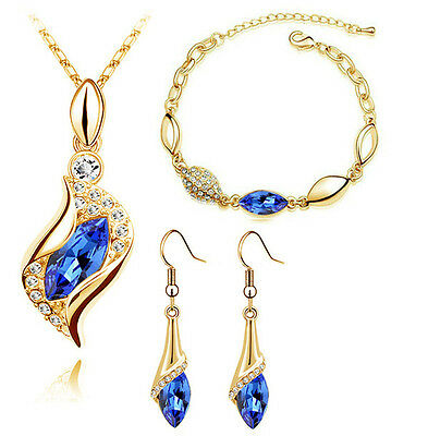 Diamante Jewellery Set Royal Blue & Gold Drop Earrings Necklace, Bracelet S793