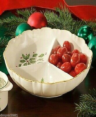 Lenox Holiday Divided Server Round Dish Holly NEW IN BOX
