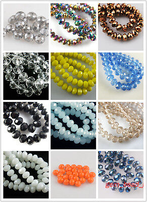 Wholesale 50pcs Faceted Glass Crystal Rondelle Loose Beads Findings Crafts 10mm