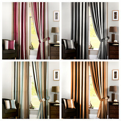 Whitworth Eyelet Fully Lined Colourful Vertical Stripe Pair Curtains Ready Made