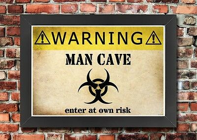 MAN CAVE POSTER A3//A4 Size Funny Vintage Retro Wall Art Print Gift For Men