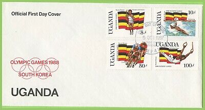 Uganda 1987 Olympics / Flags set on First Day Cover