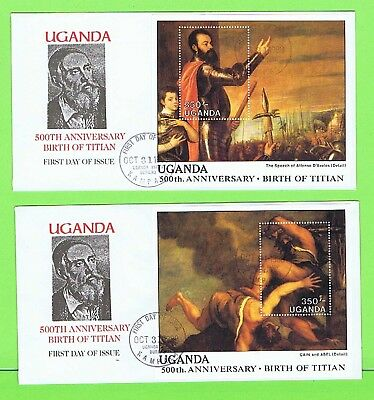Uganda 1988 500th Anniversary of Titian M/S's on two First Day Covers