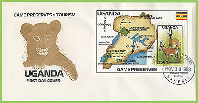 Uganda 1988 Tourism, Wildlife/Map miniature sheet on First Day Cover