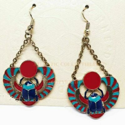 Ancient Egyptian Theme Winged Scarab Amulet Stud Earrings Pair Accessory