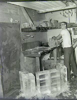 AA6122 Original 1961 4x5 BW Photo Negative Young Teen Boy Job Ice Plant
