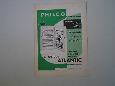 advertising Pubblicità 1958 FRIGORIFERO PHILCO ATLANTIC