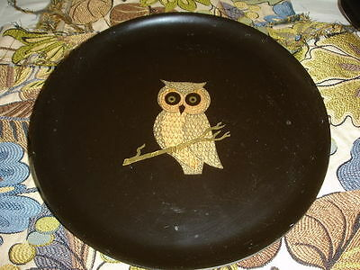 VINTAGE COUROC OF MONTEREY 10 1/2 IN. SERVER TRAY OWL ON A LIMB