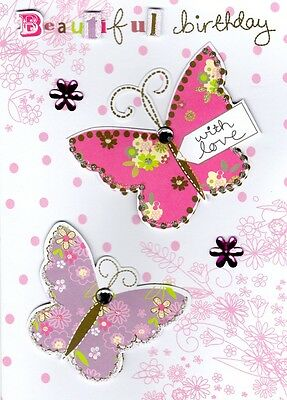 Beautiful Butterfly Handmade Birthday Card Second Nature Tag Art Greeting Cards