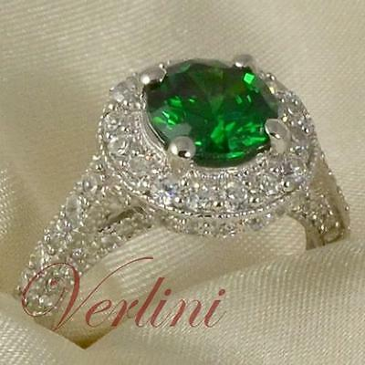 925 Sterling Silver Halo Ring 2.75 Ct Brilliant Cut Emerald Simulated Size 5-10
