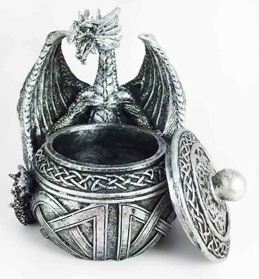 Silver Medieval Dragon Jewelry Box Protector Figurine Resin Statue Sculpture