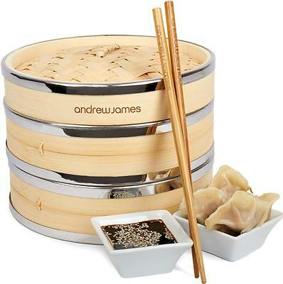 """Andrew James 8"""" Banded Bamboo Food Steamer 2 Tier + Chopsticks & Dim Sum Papers"""