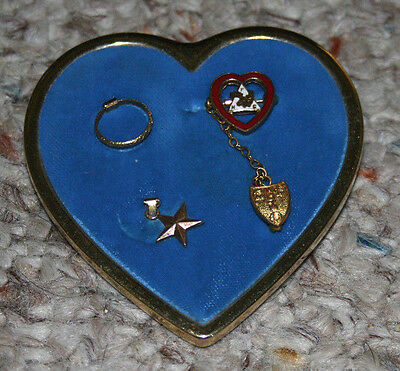 ORDER OF MOOSE Large Heart Shaped Womens PIN BROOCH blue