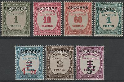 """ANDORRE STAMP TAXE 9 / 15 """" SERIE 7 TIMBRES"""" NEUFS xx TTB/SUP VALEUR:1735€  K635"""