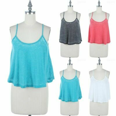 Women Casual Solid Cami Spaghetti Adjustable Straps Crop Top RT52530