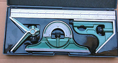 "12""  Combination Square Protractor Center Finder & 12"" Steel Rule Toolmaker"