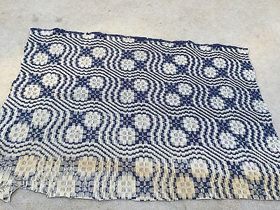 Vintage Blue And Khaki Hand Woven Wool Coverlet Piece