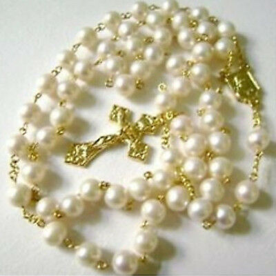 GOLD AAA 6-7mm Real Pearl NECKLACE ROSE ROSARY & CROSS CATHOLIC NECKLACE