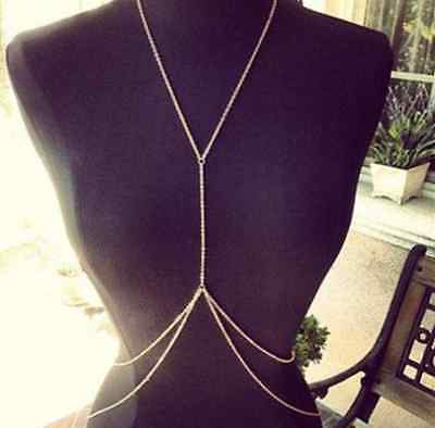 Hot Sexy Women Jewelry Belly Waist Cross Body Harness GOLD Body Chain Necklace E
