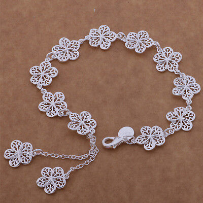 925 noble silver fashion cute women classic FLOWER Bracelet Jewelry