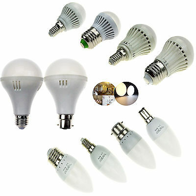 E14 E27 B22 B15 SMD LED Bulbs Lights 3W/5W/6W/7W/9W/12W BC ES Candle Globe Lamp