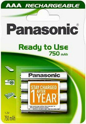 4 Pack AAA HR03 Panasonic Ready to Use NiMH Rechargeable Batteries 750mAh
