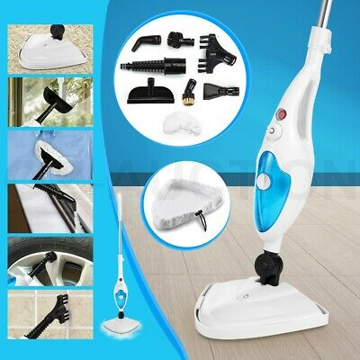 10in1 Steam Mop Cleaning Cleaner Steamer Floor Carpet Handheld 1300W Blue&White