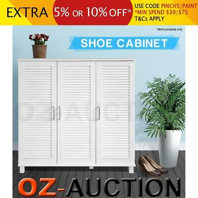 White Wooden Shoe Cabinet Storage Organiser Chest 8 Shelves Max.24 Pairs 2 Doors