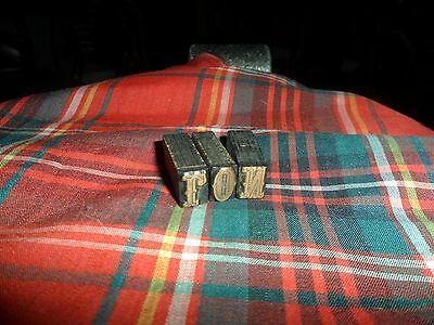 "Antique Wood/Copper Printing Press Blocks set Of 3 W/ Letters ""RON"""