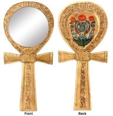Ancient Egyptian Religion Scarab Dual Cobra Ankh Hand Mirror Figural Home Decor