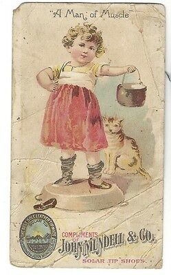 ca.1890's Advertising Trade Card - John Mundell & Co. Solar Tip Shoes