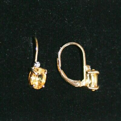 Oval Citrine Tiny Diamond Leverback Drop Earrings 14k Yellow Gold over 925 SS